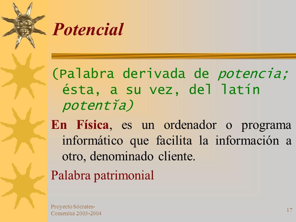 Potencial (Palabra derivada de potencia; ésta, a su vez, del latín potentĭa)