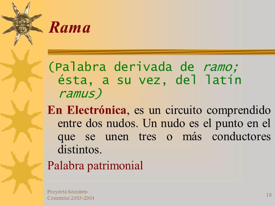 Rama (Palabra derivada de ramo; ésta, a su vez, del latín ramus)