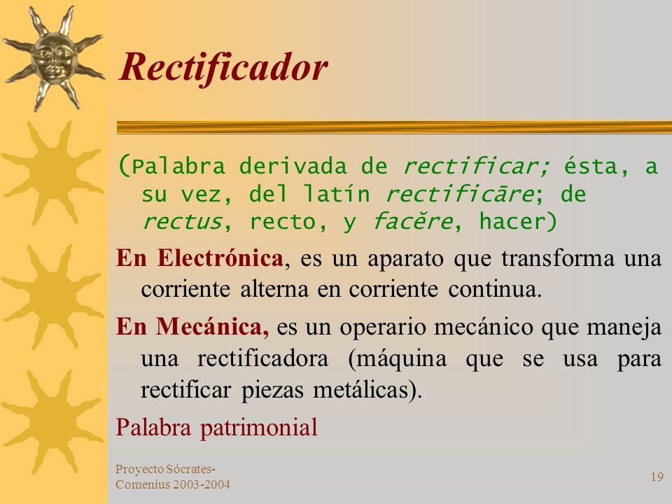Rectificador (Palabra derivada de rectificar; ésta, a su vez, del latín rectificāre; de rectus, recto, y facĕre, hacer)