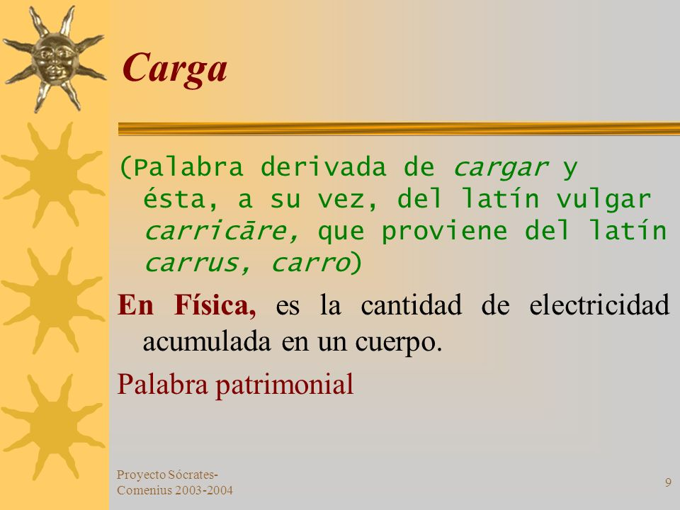 Carga (Palabra derivada de cargar y ésta, a su vez, del latín vulgar carricāre, que proviene del latín carrus, carro)