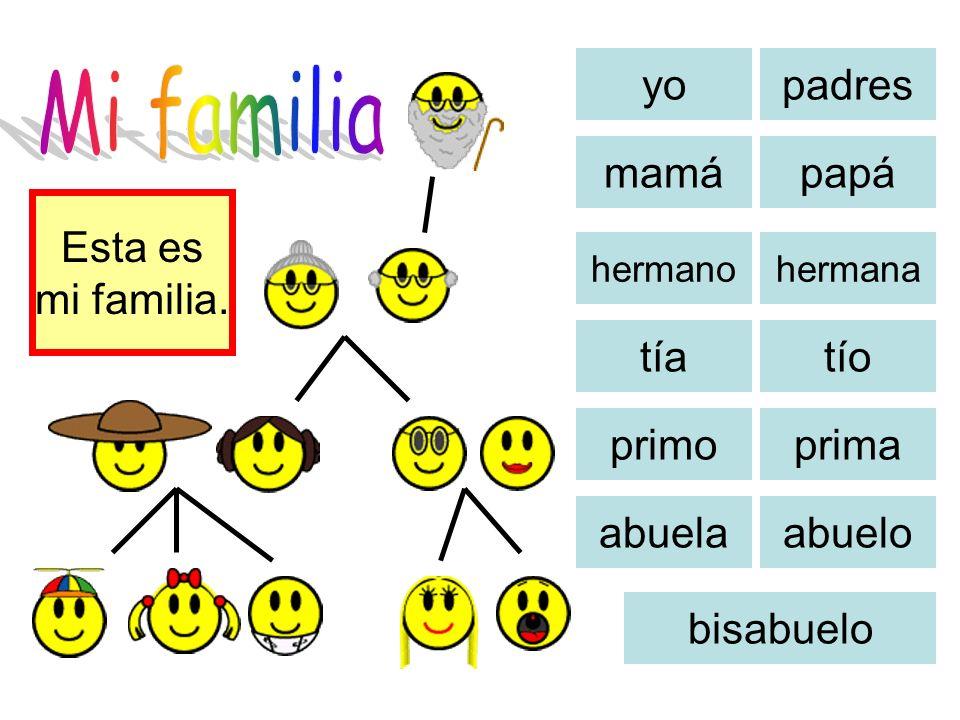 Mi familia yo padres mamá papá Esta es mi familia. tía tío primo prima