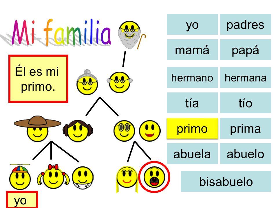 Mi familia yo padres mamá papá Él es mi primo. tía tío primo prima