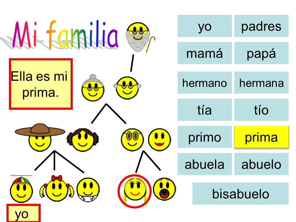 Mi familia yo padres mamá papá Ella es mi prima. tía tío primo prima