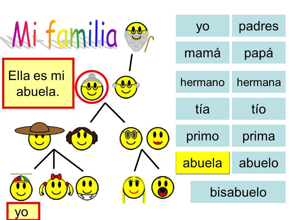Mi familia yo padres mamá papá Ella es mi abuela. tía tío primo prima