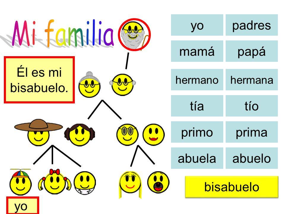 Mi familia yo padres mamá papá Él es mi bisabuelo. tía tío primo prima