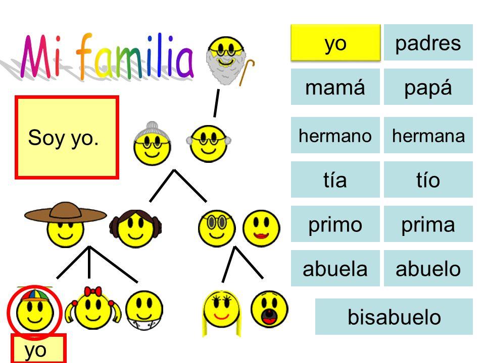 Mi familia yo padres mamá papá Soy yo. tía tío primo prima abuela