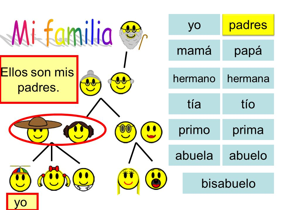 Mi familia yo padres mamá papá Ellos son mis padres. tía tío primo