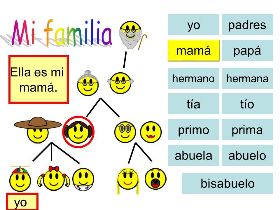 Mi familia yo padres mamá papá Ella es mi mamá. tía tío primo prima