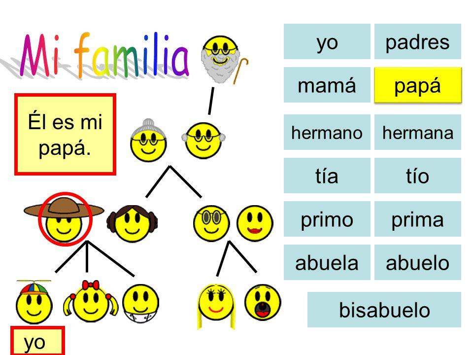 Mi familia yo padres mamá papá Él es mi papá. tía tío primo prima