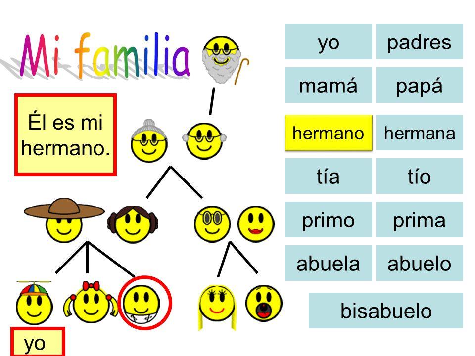 Mi familia yo padres mamá papá Él es mi hermano. tía tío primo prima