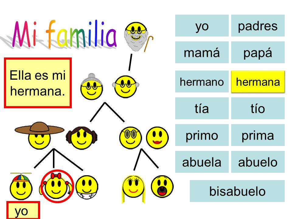 Mi familia yo padres mamá papá Ella es mi hermana. tía tío primo prima