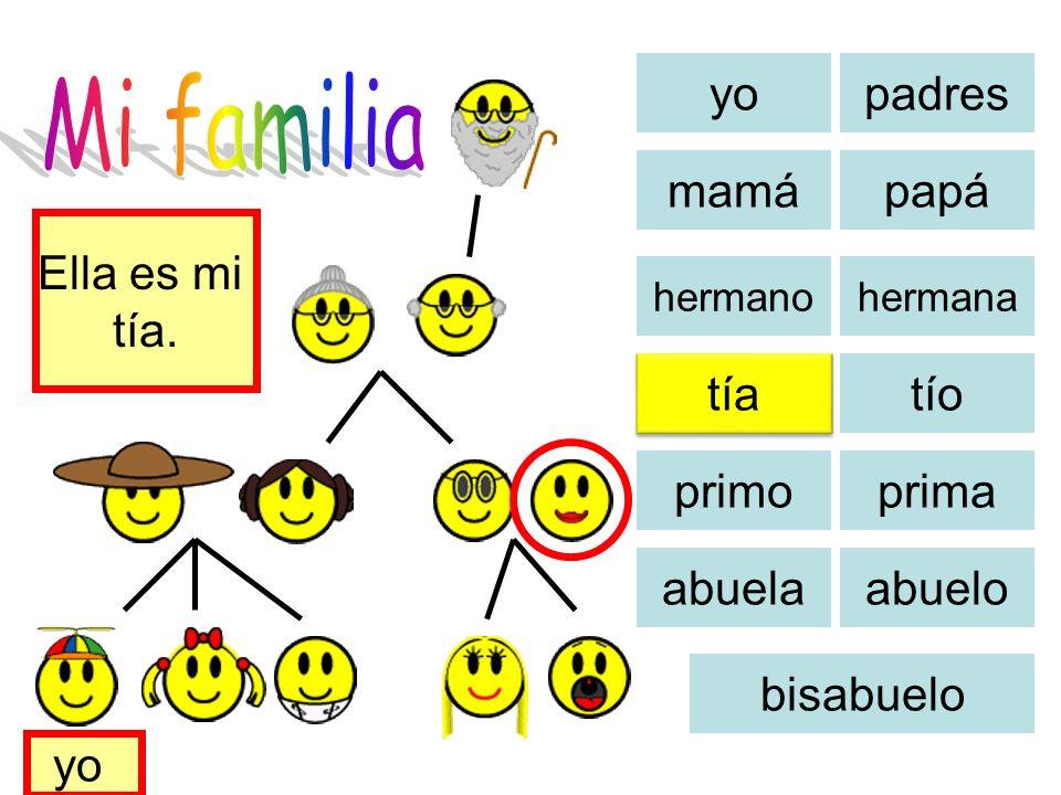 Mi familia yo padres mamá papá Ella es mi tía. tía tío primo prima