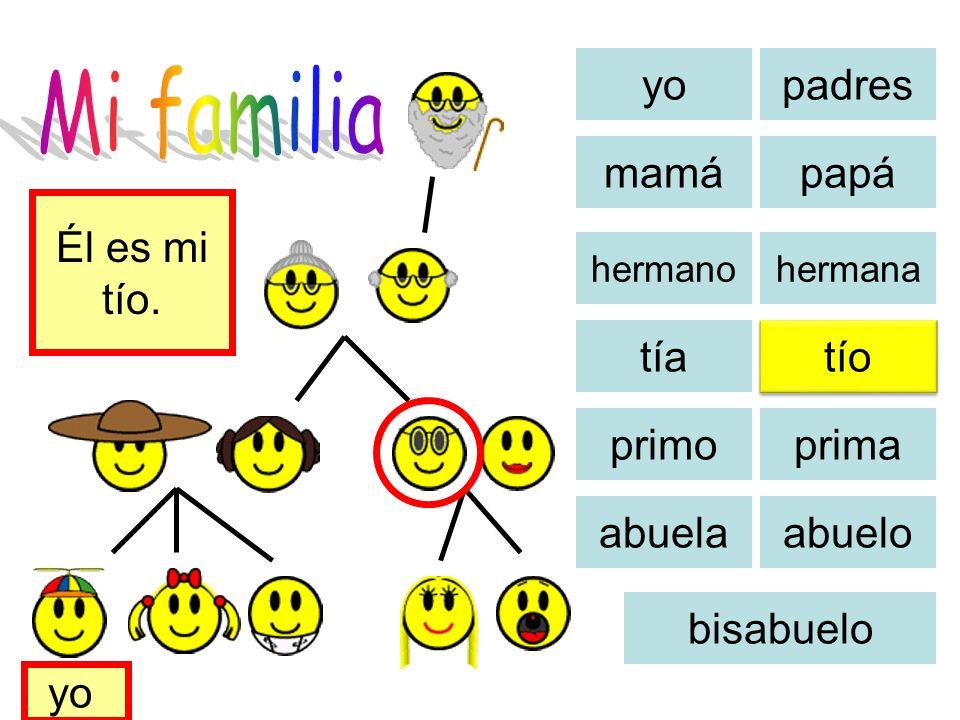 Mi familia yo padres mamá papá Él es mi tío. tía tío primo prima