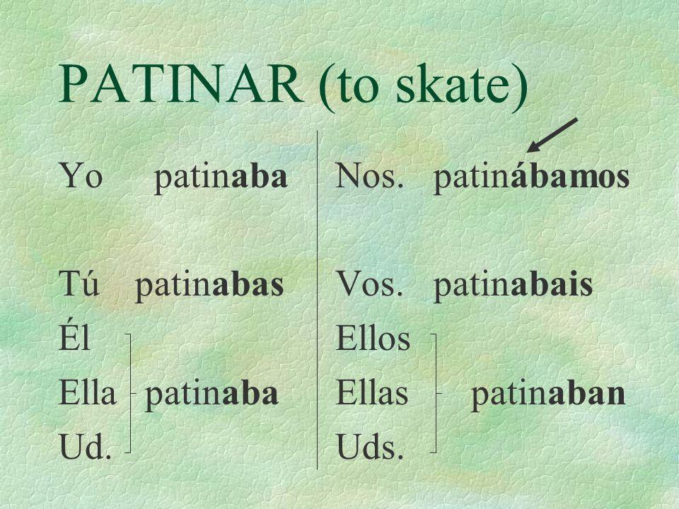 PATINAR (to skate) Yo patinaba Tú patinabas Él Ella patinaba Ud.