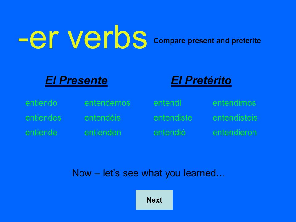-er verbs El Presente El Pretérito Now – let's see what you learned…