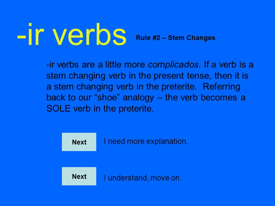 -ir verbs Rule #2 – Stem Changes.