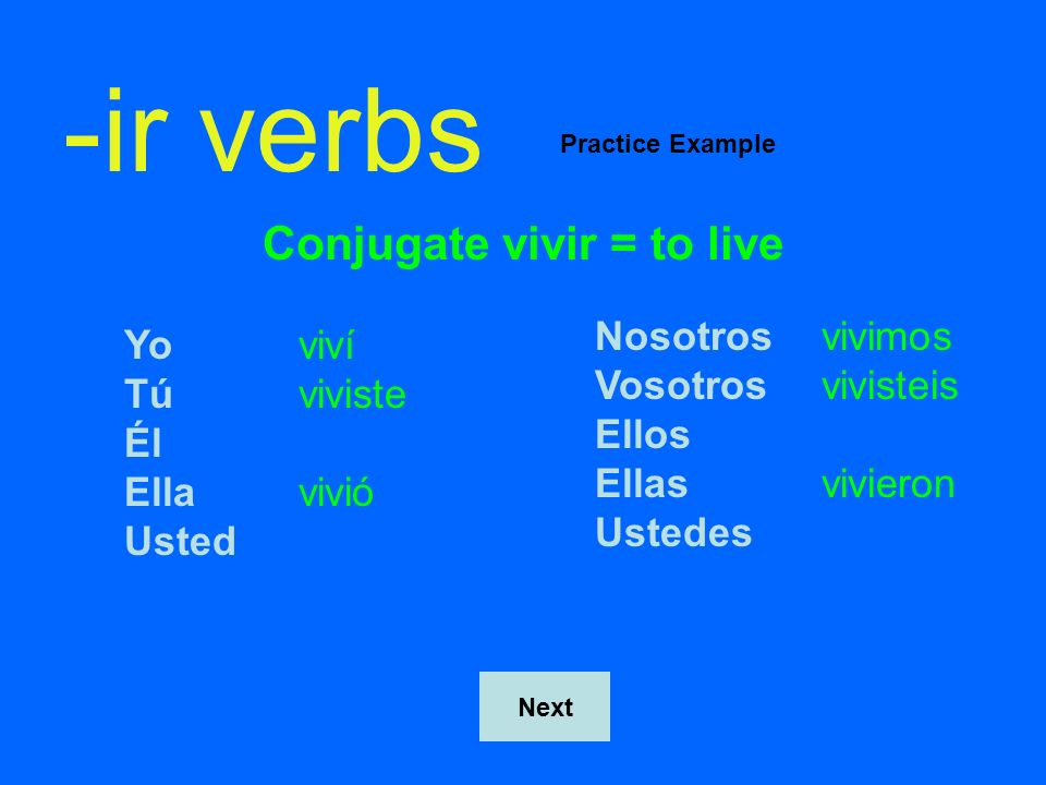 Conjugate vivir = to live