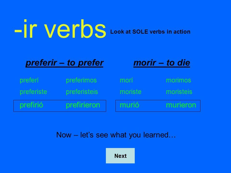 -ir verbs preferir – to prefer morir – to die prefirió prefirieron