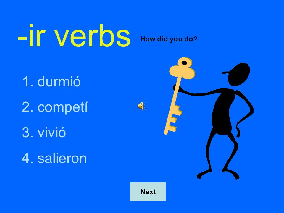 -ir verbs How did you do durmió competí vivió salieron Next
