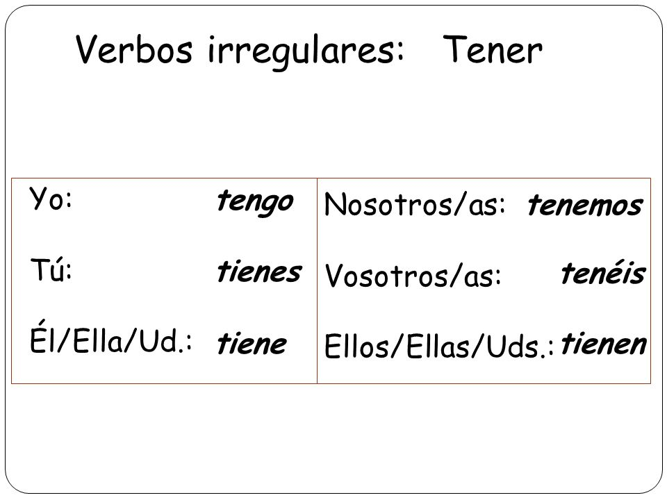 Verbos irregulares: Tener