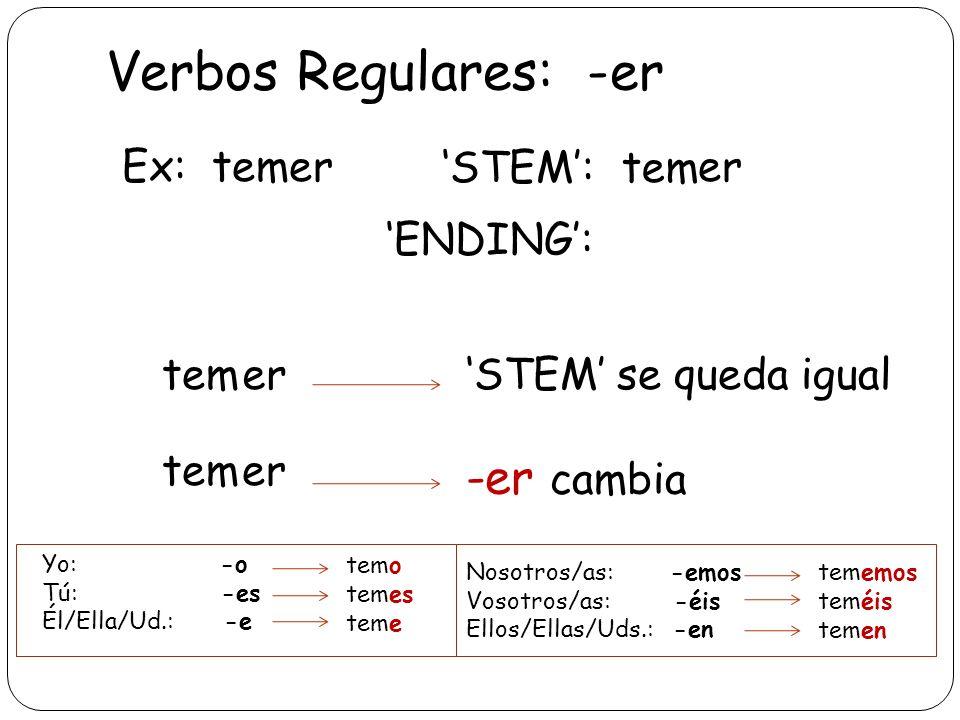Verbos Regulares: -er -er cambia Ex: temer 'STEM': tem er 'ENDING':