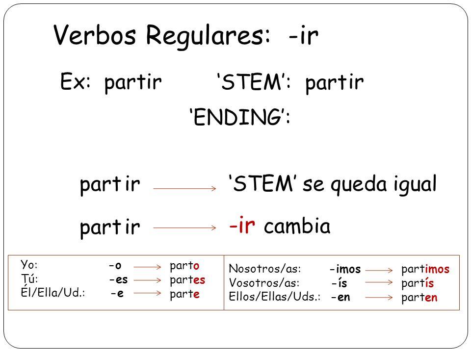 Verbos Regulares: -ir -ir cambia Ex: partir 'STEM': part ir 'ENDING':