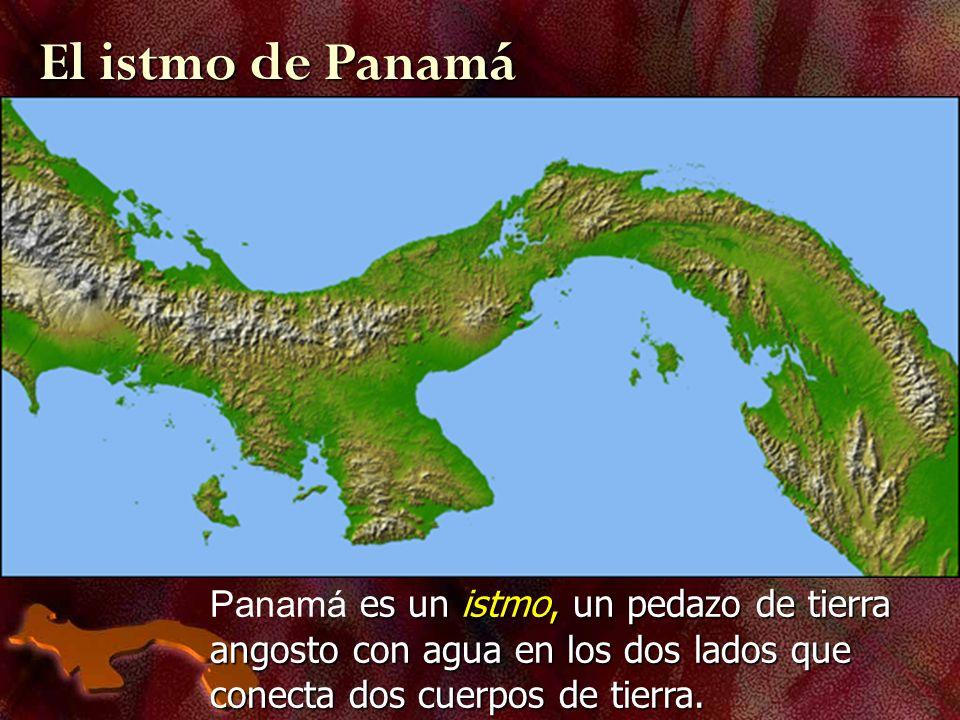 El istmo de Panamá Panamá es un istmo, un pedazo de tierra angosto con agua en los dos lados que conecta dos cuerpos de tierra.