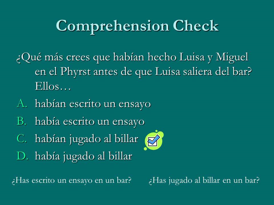 Comprehension Check ¿Qué más crees que habían hecho Luisa y Miguel en el Phyrst antes de que Luisa saliera del bar Ellos…