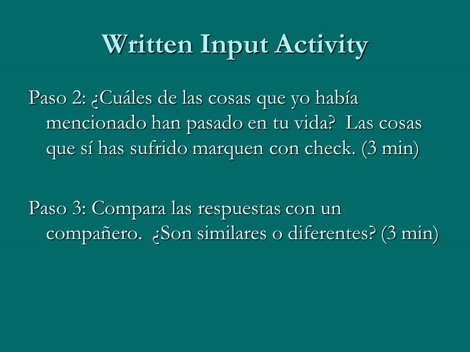 Written Input Activity