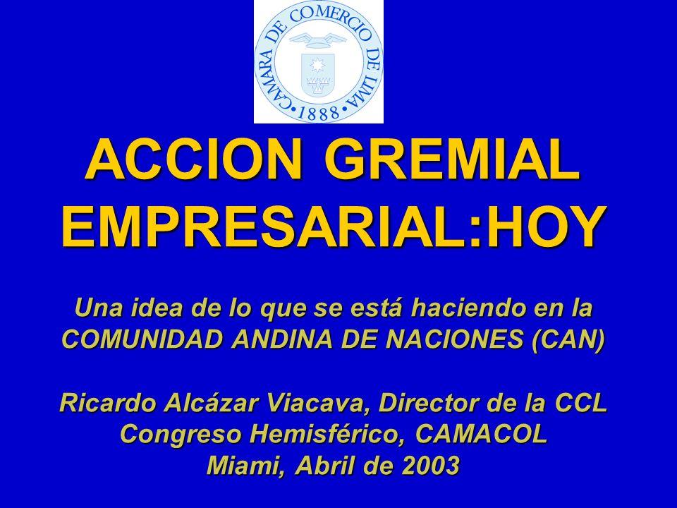 ACCION GREMIAL EMPRESARIAL:HOY Una idea de lo que se está haciendo en la COMUNIDAD ANDINA DE NACIONES (CAN) Ricardo Alcázar Viacava, Director de la CCL Congreso Hemisférico, CAMACOL Miami, Abril de 2003