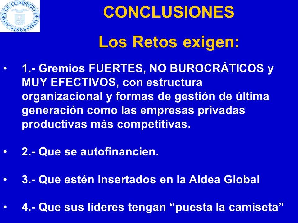 CONCLUSIONES Los Retos exigen: