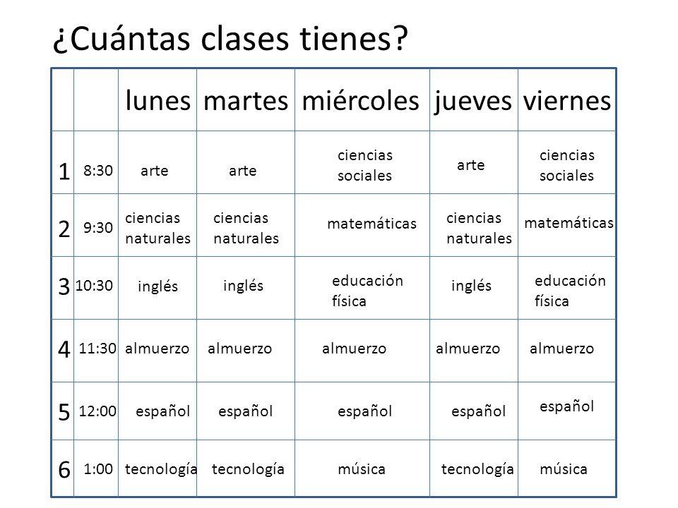 ¿Cuántas clases tienes