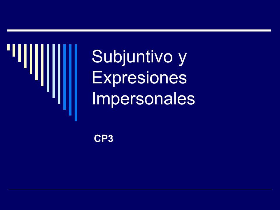 Subjuntivo y Expresiones Impersonales