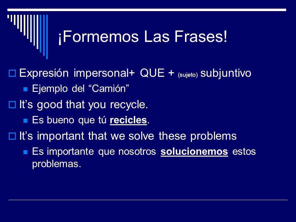 ¡Formemos Las Frases! Expresión impersonal+ QUE + (sujeto) subjuntivo