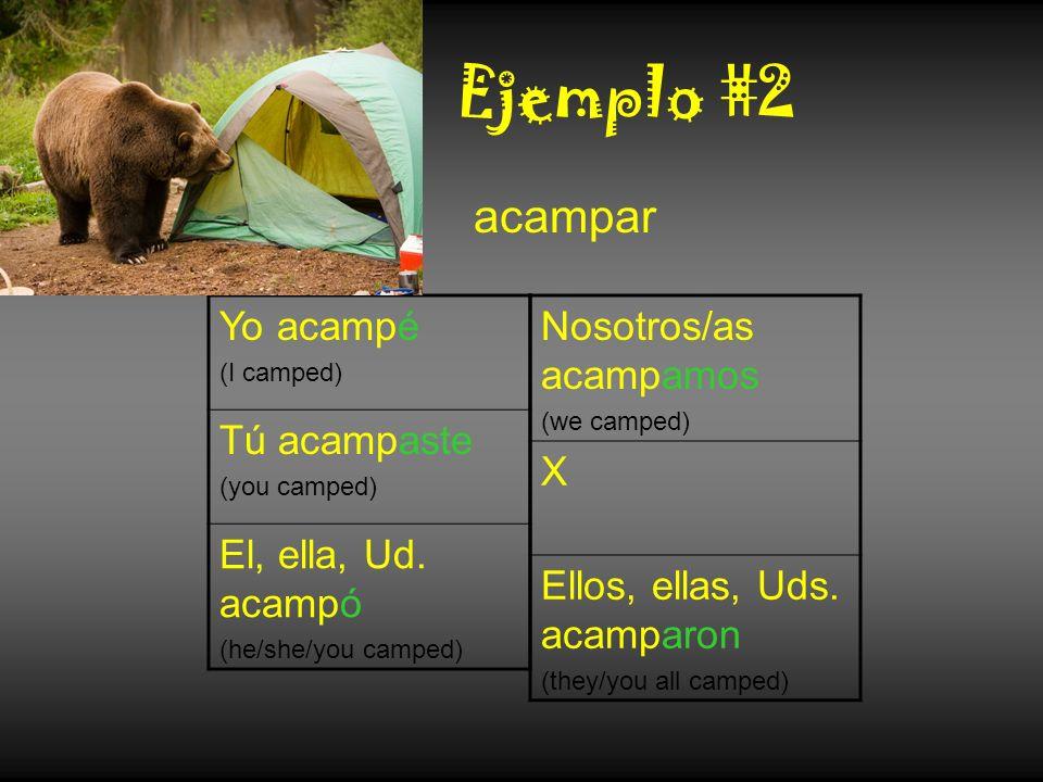 Ejemplo #2 acampar Yo acampé Tú acampaste El, ella, Ud. acampó
