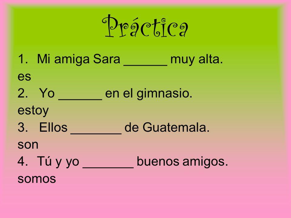 Práctica Mi amiga Sara ______ muy alta. es