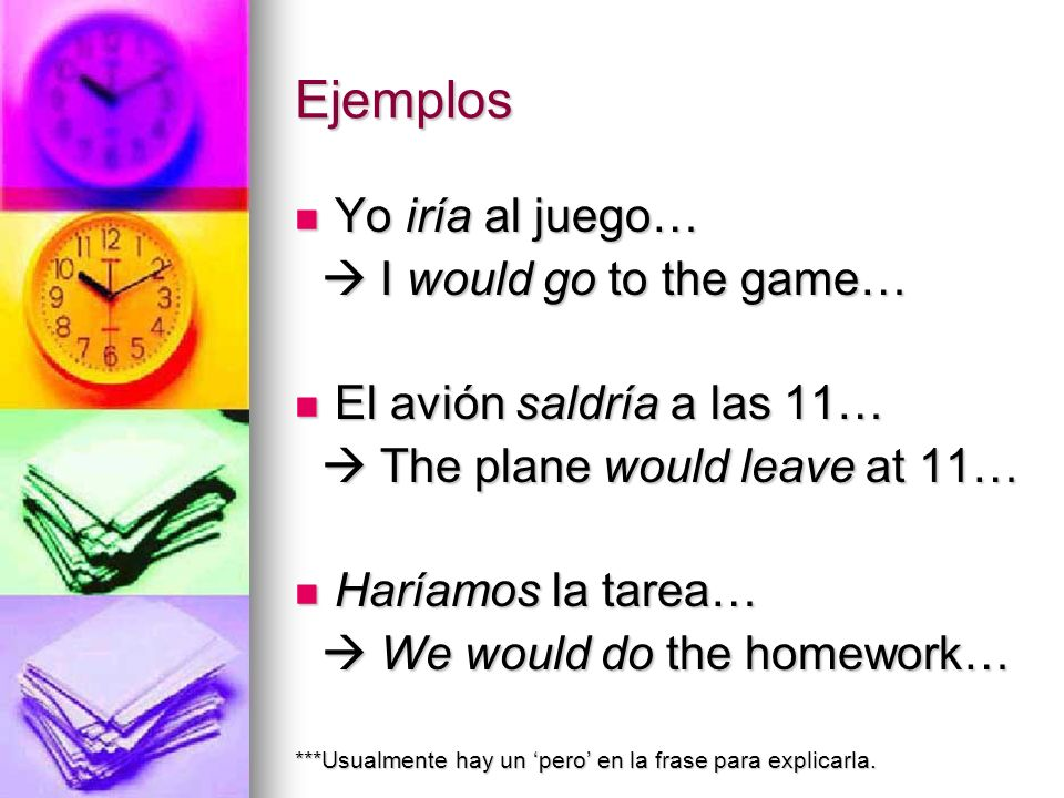 Ejemplos Yo iría al juego…  I would go to the game…