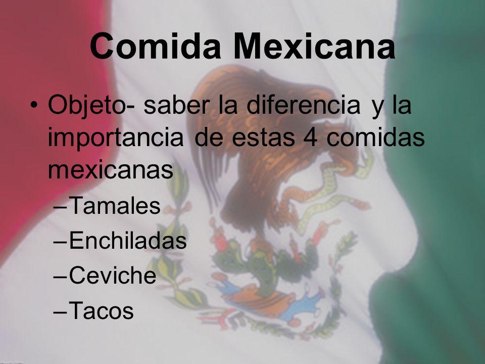 Comida Mexicana Objeto- saber la diferencia y la importancia de estas 4 comidas mexicanas. Tamales.