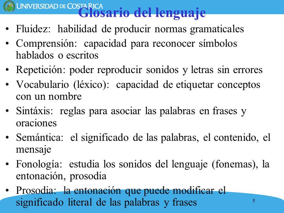 Glosario del lenguajeFluidez: habilidad de producir normas gramaticales. Comprensión: capacidad para reconocer símbolos hablados o escritos.