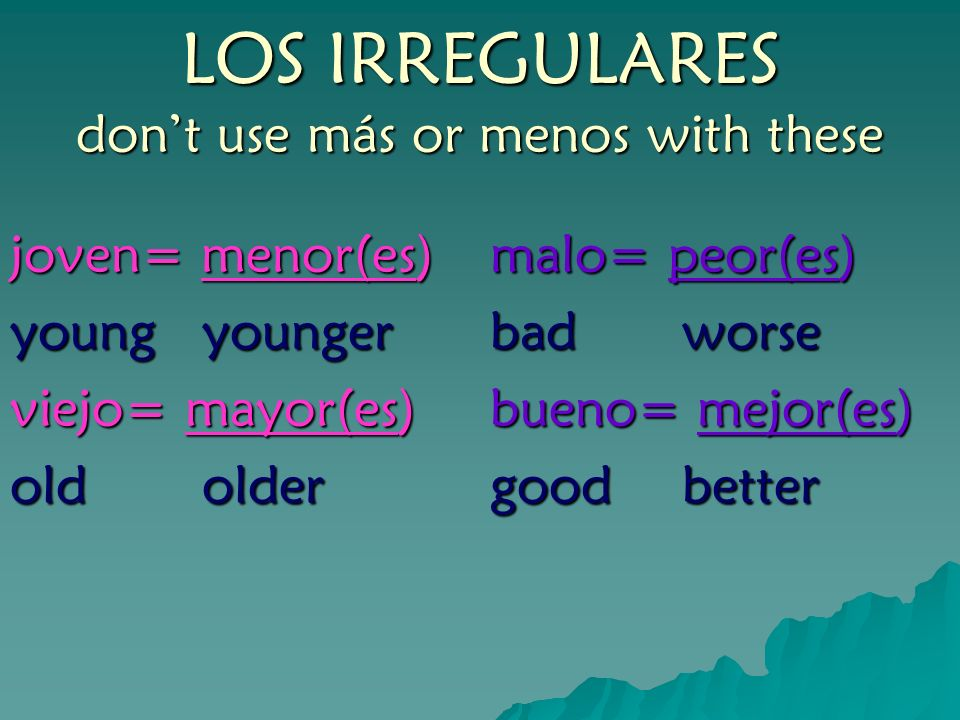 LOS IRREGULARES don't use más or menos with these