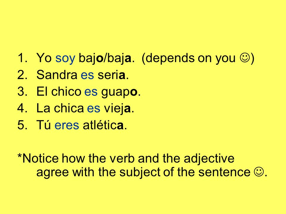 Yo soy bajo/baja. (depends on you )
