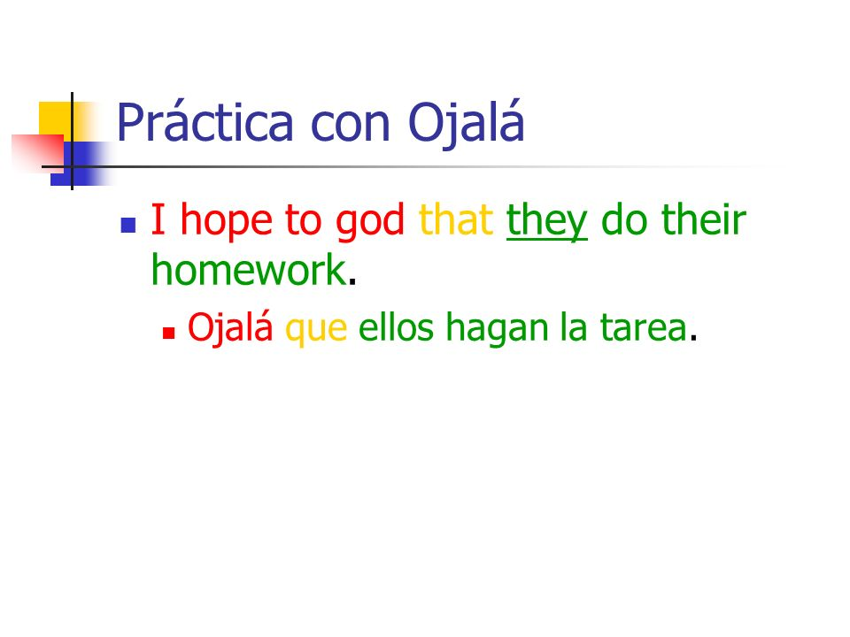 Práctica con Ojalá I hope to god that they do their homework.