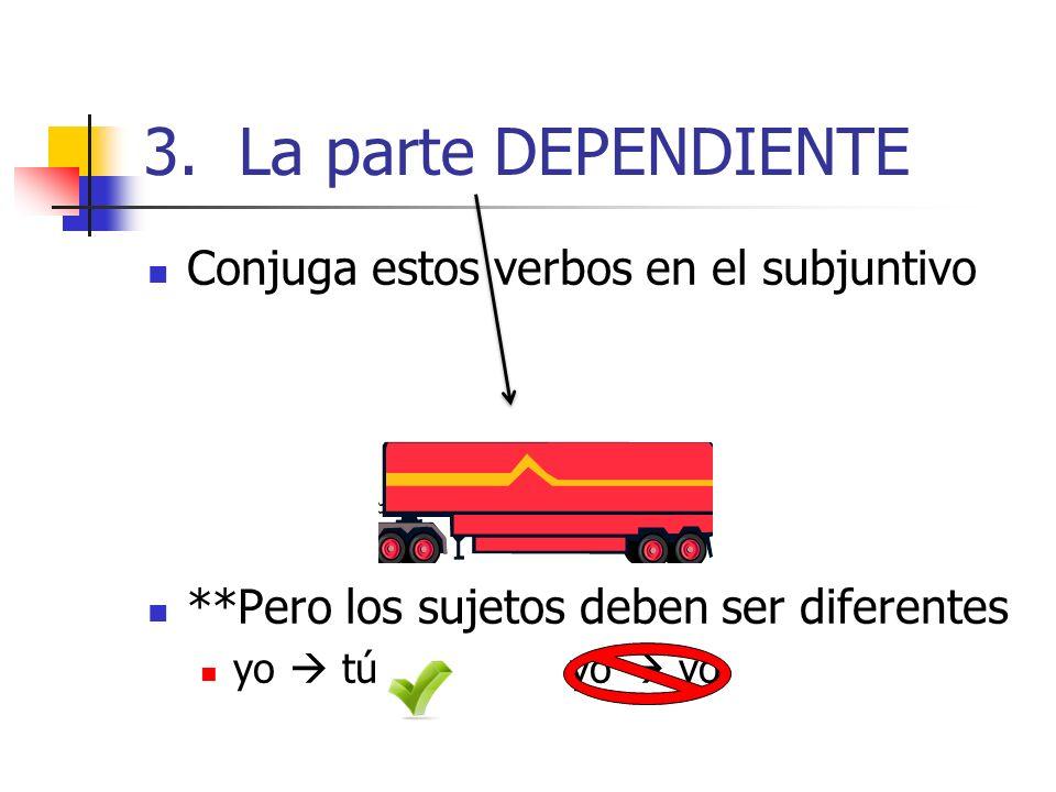 3. La parte DEPENDIENTE Conjuga estos verbos en el subjuntivo