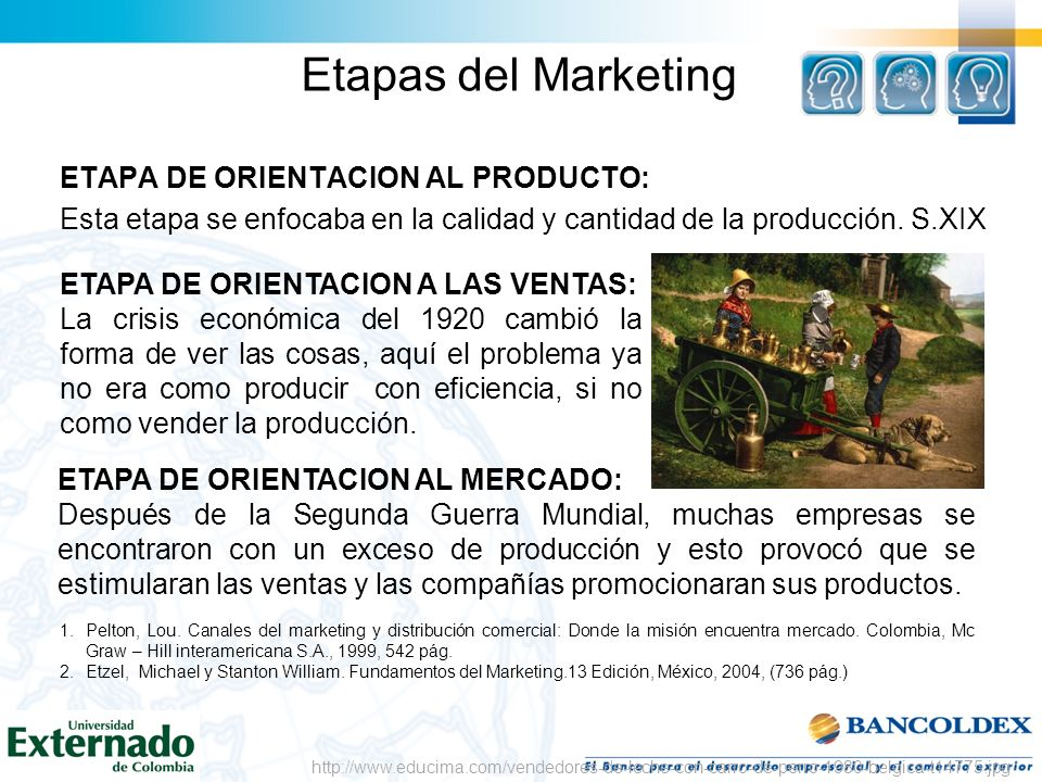 Etapas del MarketingETAPA DE ORIENTACION AL PRODUCTO: Esta etapa se enfocaba en la calidad y cantidad de la producción. S.XIX
