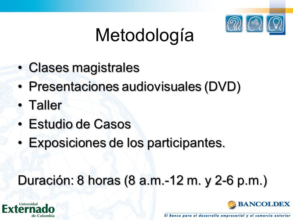 Metodología Clases magistrales Presentaciones audiovisuales (DVD)