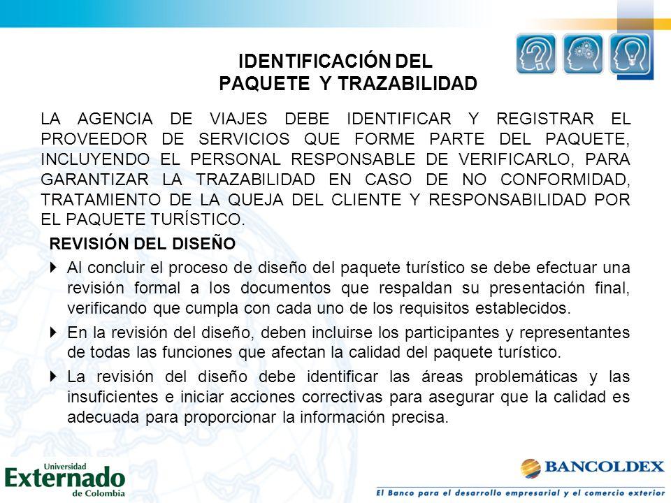 IDENTIFICACIÓN DEL PAQUETE Y TRAZABILIDAD