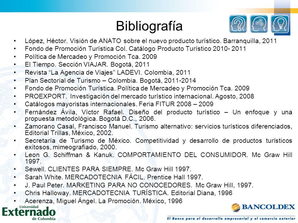BibliografíaLópez, Héctor. Visión de ANATO sobre el nuevo producto turístico. Barranquilla, 2011.