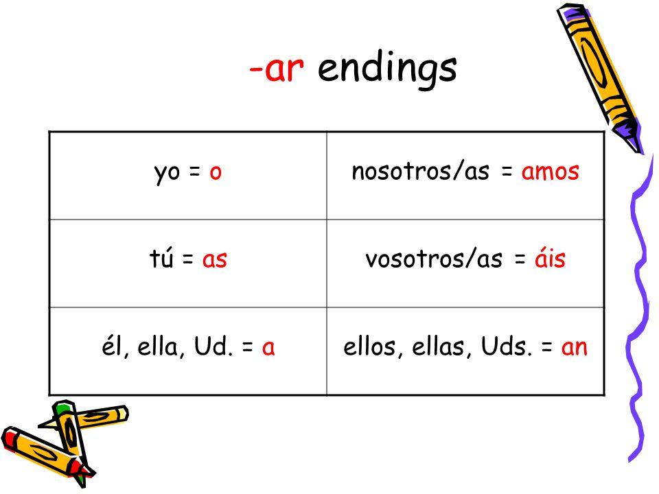 -ar endings yo = o nosotros/as = amos tú = as vosotros/as = áis
