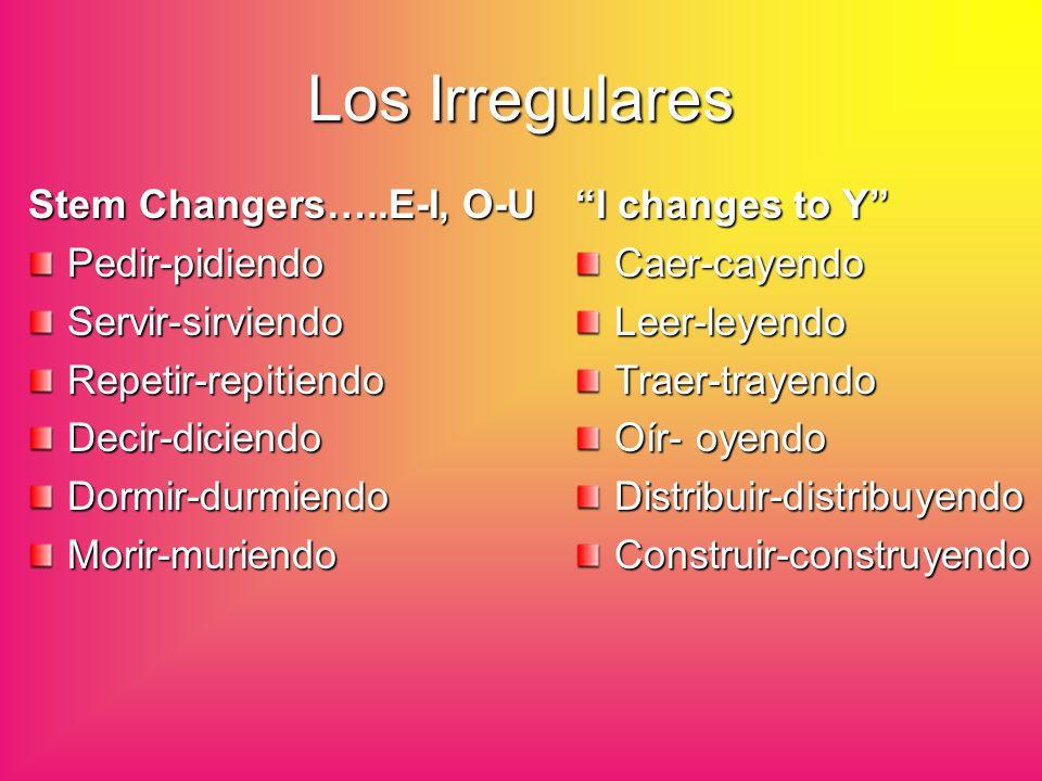 Los Irregulares Stem Changers…..E-I, O-U Pedir-pidiendo