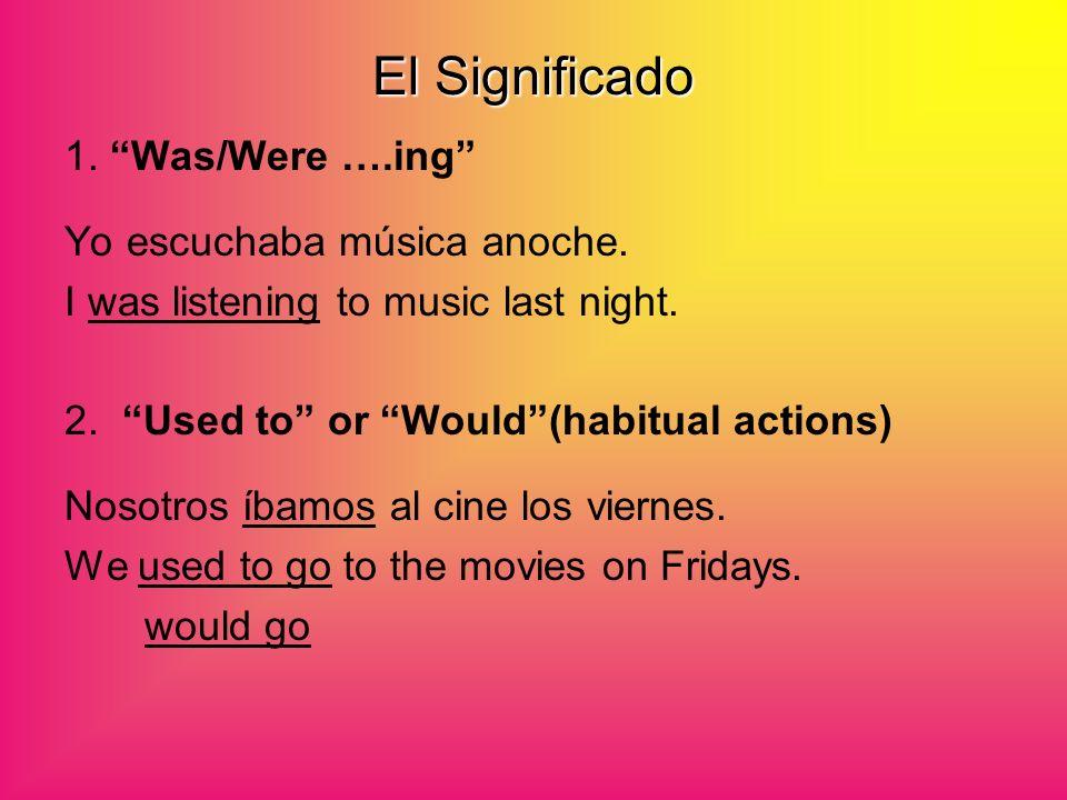 El Significado 1. Was/Were ….ing Yo escuchaba música anoche.